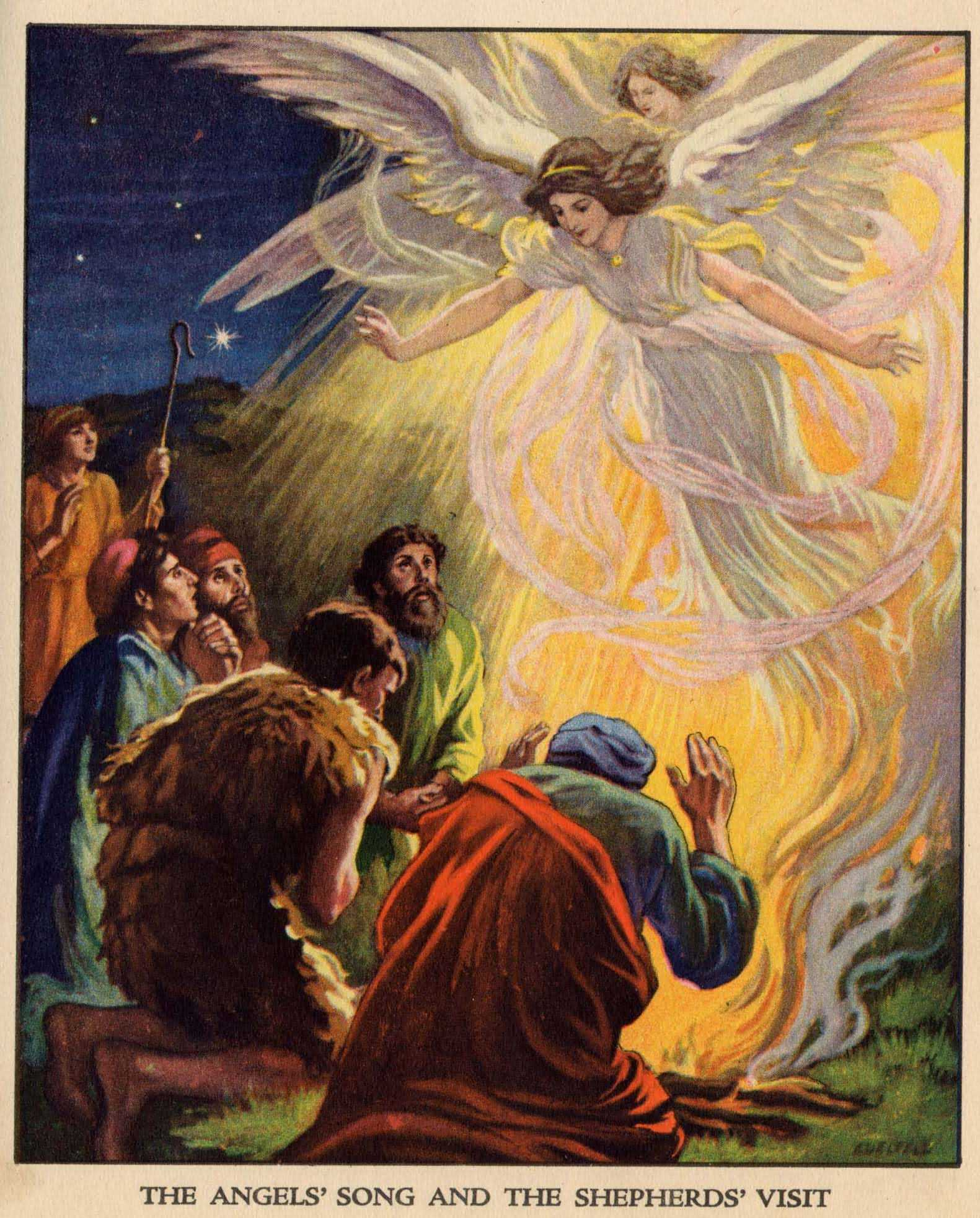 Image of the angels visiting the shepherds